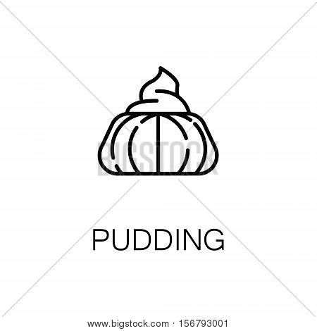 Pudding flat icon. Single high quality outline symbol of bakery for web design or mobile app. Thin line signs of pudding for design logo, visit card, etc. Outline pictogram of pudding