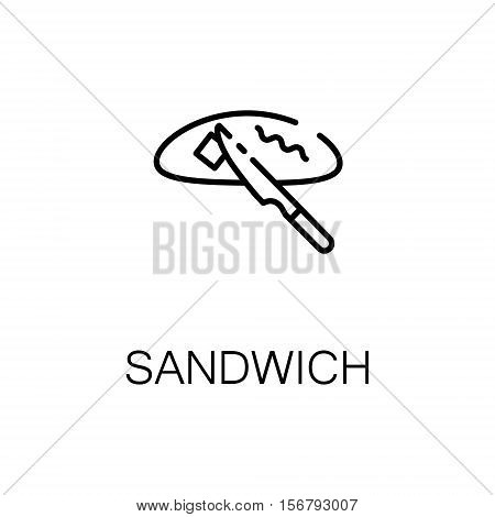 Sandwich flat icon. Single high quality outline symbol of bakery for web design or mobile app. Thin line signs of sandwich for design logo, visit card, etc. Outline pictogram of sandwich