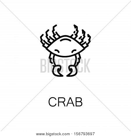 Crab flat icon. Single high quality outline symbol of seafood for web design or mobile app. Thin line signs of crab for design logo, visit card, etc. Outline pictogram of crab