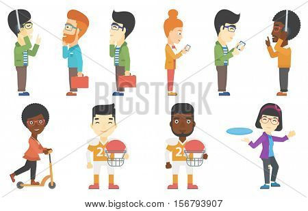 Rugby player holding rugby ball and helmet in hands. Young rugby player in uniform. Illustration of full length of rugby player. Set of vector flat design illustrations isolated on white background.