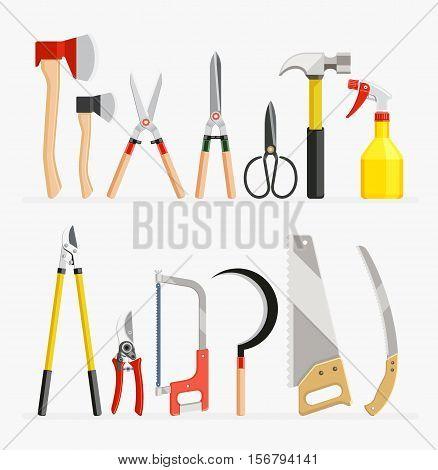 Set of craftsman and gardener tools items. Vector illustration flat design.