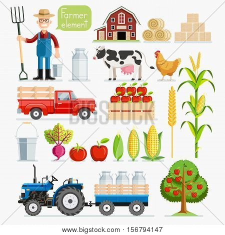 Set of farmer element. Farmer and Farm animals. Vector illustrations.
