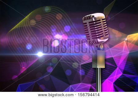 Digitally generated retro microphone on stand against digitally generated music symbol design