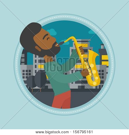 An african-american musician playing on saxophone. Man playing on saxophone in the night. Man with saxophone in the city street. Vector flat design illustration in the circle isolated on background.