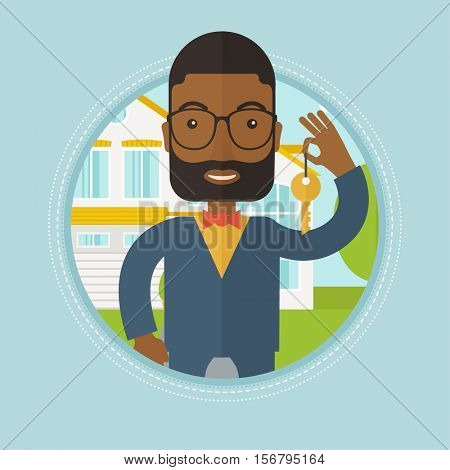 An african-american real estate agent holding key. Real estate agent showing keys in front of house. Happy new owner of a house. Vector flat design illustration in the circle isolated on background.