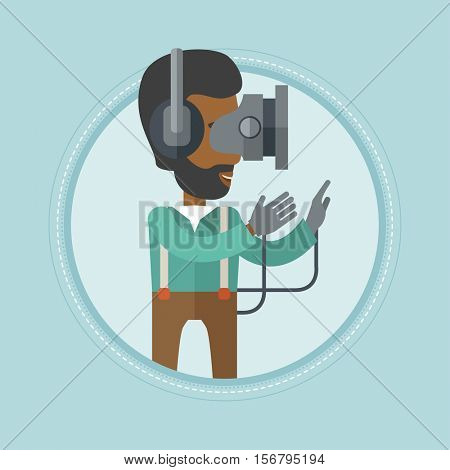 An african-american man wearing a virtual reality headset and gamer gloves. Gamer in virtual reality headset playing video games. Vector flat design illustration in the circle isolated on background.