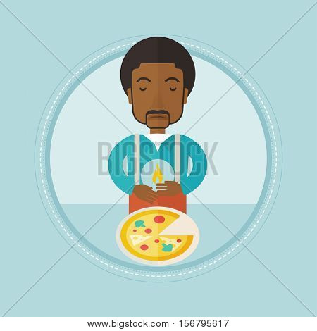 An african-american man suffering from heartburn after eating pizza. Upset young man suffering from heartburn caused by pizza. Vector flat design illustration in the circle isolated on background.