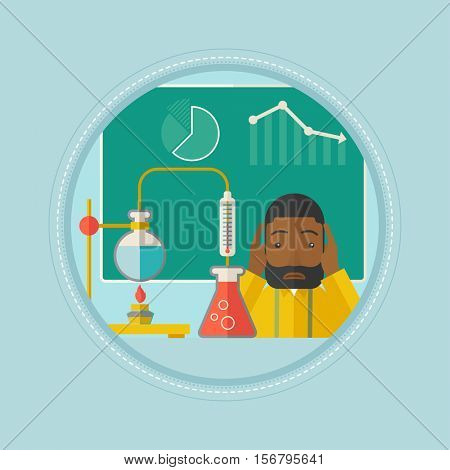 An african-american student carrying out experiment in chemistry class. Sad student working at chemistry class and clutching head. Vector flat design illustration in the circle isolated on background.