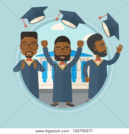 African-american graduates throwing up hats on background of academy building. Graduates in cloak and graduation hat celebrating. Vector flat design illustration in the circle isolated on background.