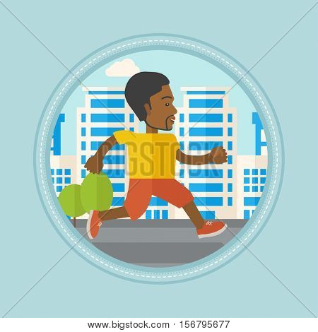 An african-american man running. Young male runner jogging. Sportsman jogging on a city street. Lifestyle and sport concept. Vector flat design illustration in the circle isolated on background.