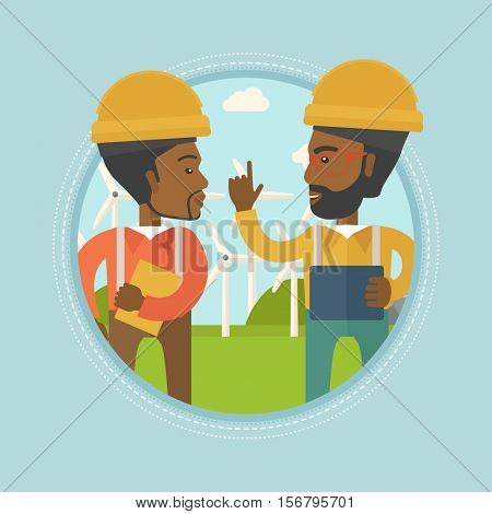 Two african-american workers talking on background of wind farm. Workers of wind farm in helmets discussing working affairs. Vector flat design illustration in the circle isolated on background.
