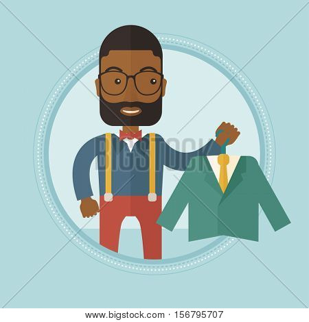 An african-american shopper holding hanger with suit jacket and shirt. Shopper choosing suit jacket. Shop assistant offering suit. Vector flat design illustration in the circle isolated on background.