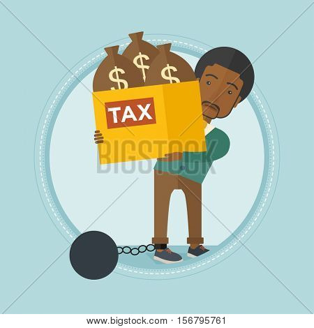 Chained to a large ball african-american businessman carrying heavy box with bags full of taxes. Concept of tax time and taxpayer. Vector flat design illustration in the circle isolated on background