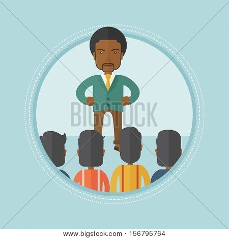 Angry african-american businessman shouting at his workers. Aggressive boss firing his workers. Businessman yelling at his workers. Vector flat design illustration in the circle isolated on background