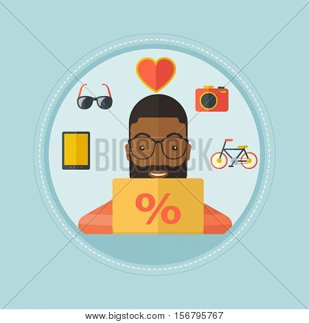 An african-american smiling man using laptop for online shopping. Cheerful man shopping online at home. Man buying on internet. Vector flat design illustration in the circle isolated on background.