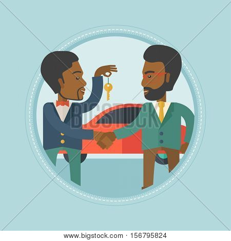 An african car salesman giving car key to a new owner on the background of car shop. Man buying car and shaking hand to a salesman. Vector flat design illustration in the circle isolated on background