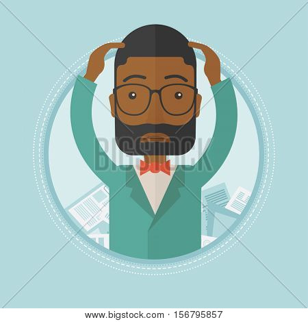 An african-american depressed businessman sitting in heap of papers. Overworked sad businessman sitting among piles of papers. Vector flat design illustration in the circle isolated on background.