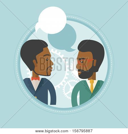 Two african-american businessmen discussing business plan on a background with cogwheels. Business discussion and teamwork concept. Vector flat design illustration in the circle isolated on background