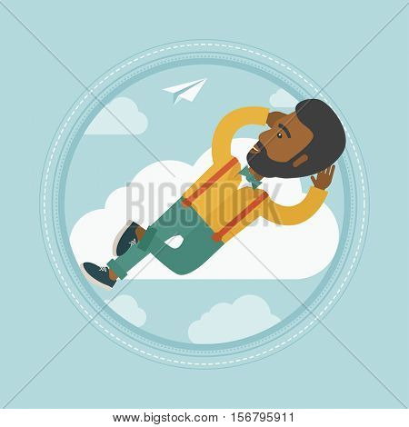 An african-american happy businessman lying on a cloud and looking at flying paper plane. Carefree businessman relaxing on cloud. Vector flat design illustration in the circle isolated on background.