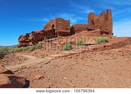 Ruins of Wukoki pueblo in Wupatki National Monument north of Flagstaff Arizona