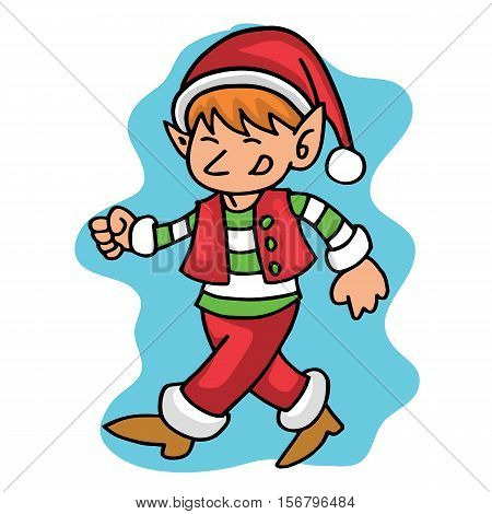 Walking elf Christmas collection stock vector art