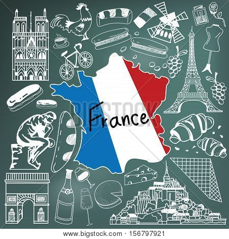 Travel to France doodle drawing icon. Doodle with culture costume landmark and cuisine of France tourism concept in blackboard background create by vector