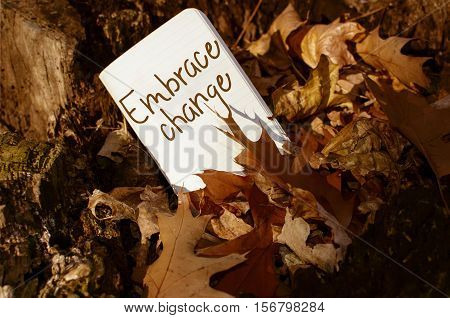 Embrace change words written on note book in a pile of autumn leaves with sun shining on message business development leadership success at work and innovation