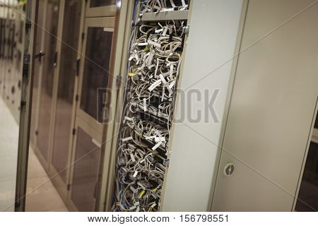 View of rack mounted server in server room