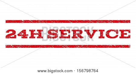 24H Service watermark stamp. Text tag between parallel lines with grunge design style. Rubber seal stamp with dust texture. Vector red color ink imprint on a white background.