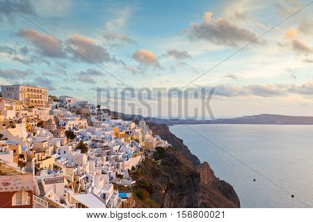 FIRA, GREECE - NOVEMBER 06, 2016: Town of Fira on Santorini island, Greece on November 06, 2016.