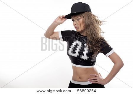 Young Hip Hop Beauty Woman Portrait Isolated On White Bg