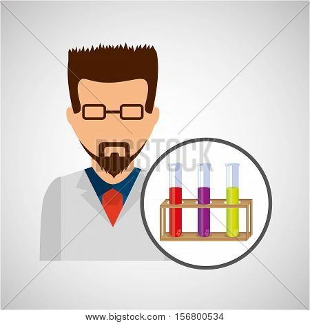 character scientist chemistry test tube rack vector illustration eps 10