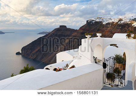 Imerovigli village on Santorini island in Greece.
