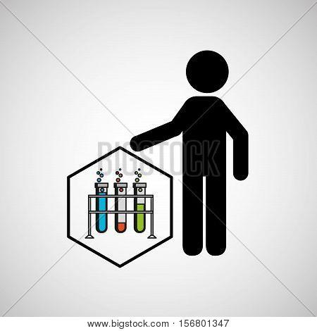 silhouette man science test tube on rack vector illustration eps 10