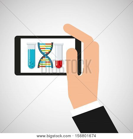 chemistry laboratory smartphone dna test tube vector illustration esp 10