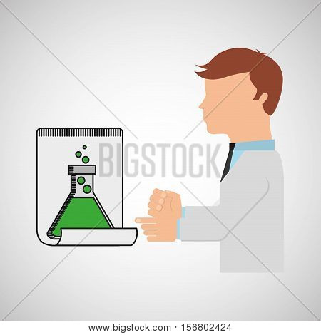 scientist worker research report tube lab vector illustration eps 10