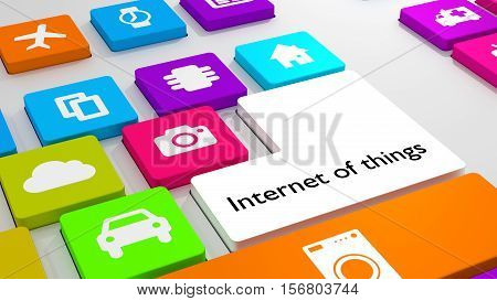 White keyboard with colored keys showing different iot icons internet of things concept 3D illustration