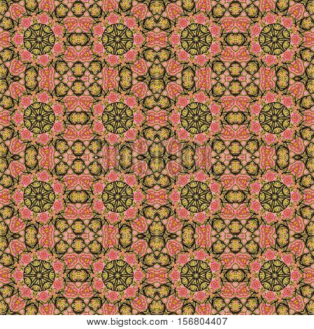 seamless abstract pink and gold flower background for use at graphic design