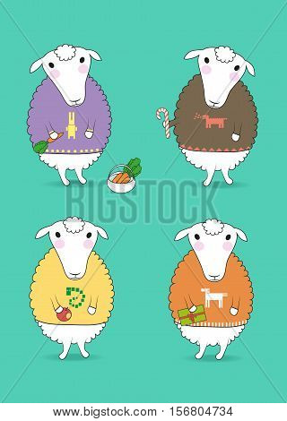 Cartoon white sheeps with colorful pullovers and new years attributes - carrot candy apple gift. Patterns of chinese horoscope - rabbit dragon nake horse. illustration