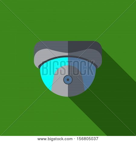 Vector illustration or icon of security camera in flat style with long shadow