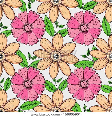 Vector seamless pattern of hand drawn colorful flowers and leaf branch. illustration isolated on grey. Magic beautiful camomiles. Hand sketched doodle for coloring books, your design, web, package