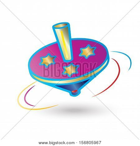 Hanukkah Festival of Lights. Dreidel a small spinning top  used by the Jews. Spinning isolated on white background, symbol of Hanukkah Jewish Holiday.
