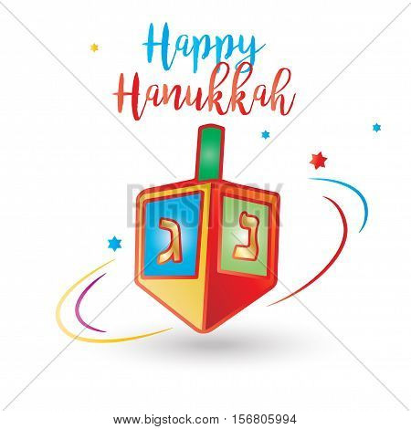 Happy Hanukkah calligraphy inscription. Jewish Holiday card with Spinning top. Vector illustration.