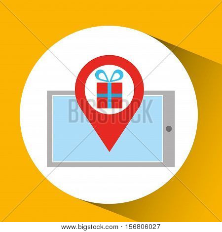 smartphone e-commerce gift pin vector illustration eps 10