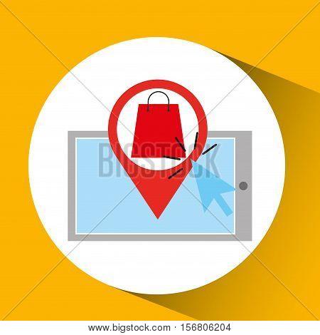 smartphone shopping online bag present graphic vector illustration eps 10