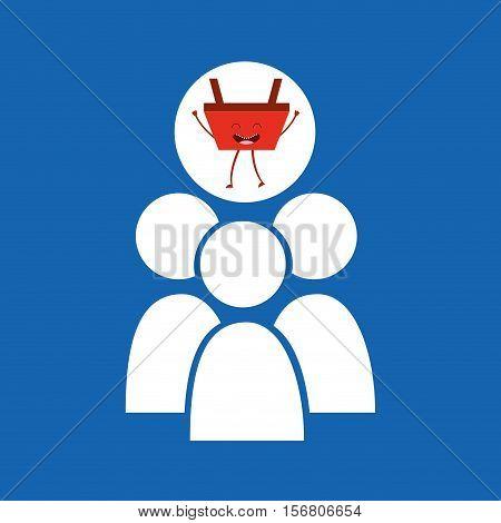 cartoon basket shopping group person vector illustration eps 10