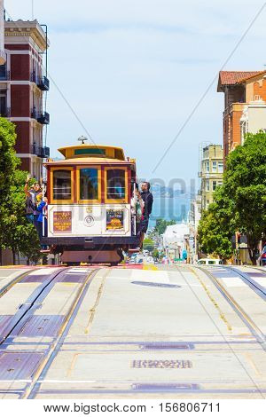 San Francisco Bay Approaching Cable Car Front V
