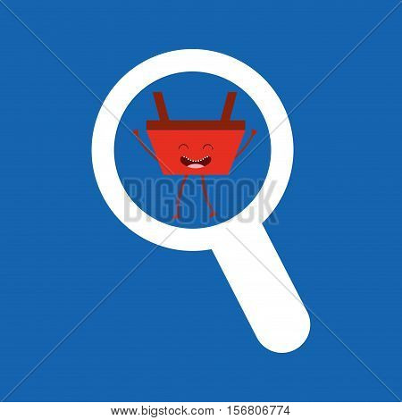 basket red commerce searching icon vector illustration eps 10