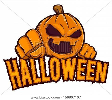 Vector stock of Halloween with jack lantern pumpkin background