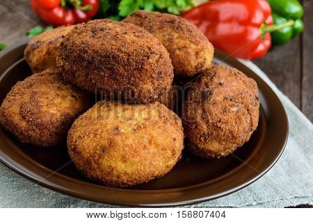 Meat mini-rolls (cutlet) with boiled egg. Close up